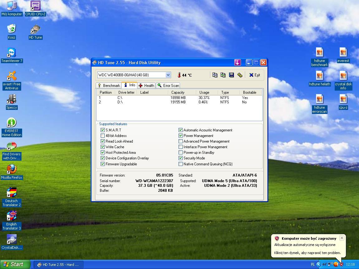 Wysokie u�ycie procesora na xp.