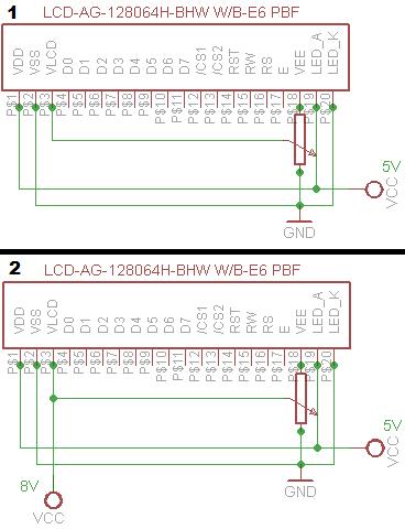 Zegar z graficznym wyswietlaczem LCD - schemat