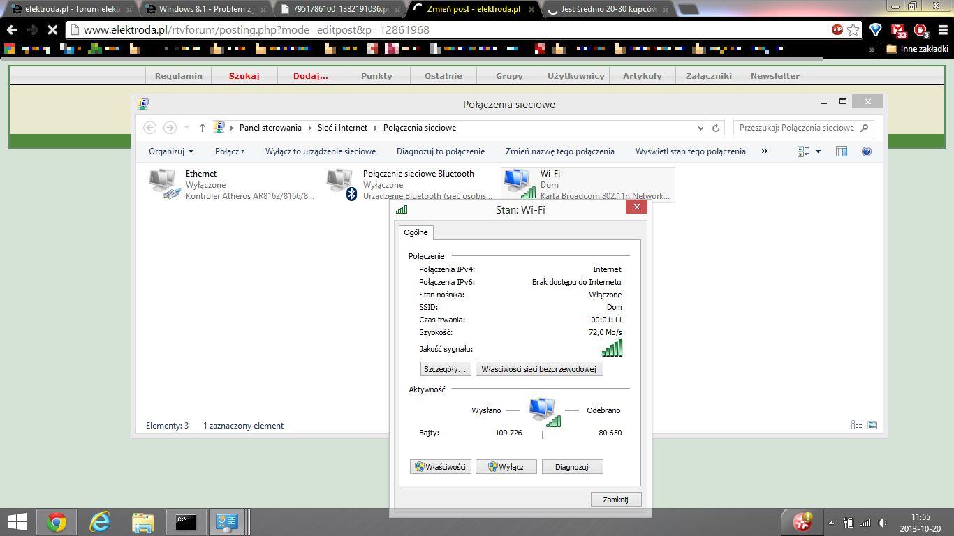 """Windows 8.1 - Problem z jednym po��czeniem WIFI """"Ograniczone po��czenie&quo"""