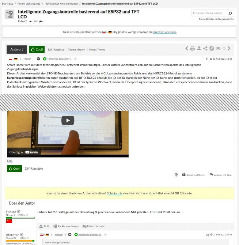 Intelligente Zugangskontrolle basierend auf ESP32 und TFT LCD