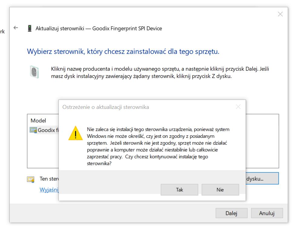 Czytnik linii papilarnych w Asus ZenBook UX331UN nie działa