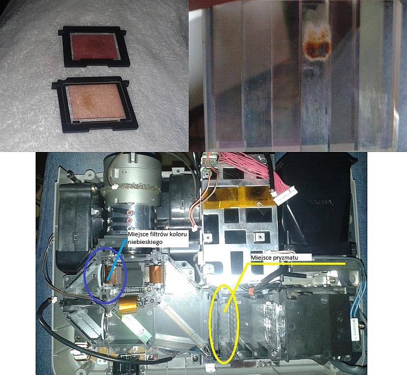 EPSON EMP-74 3LCD - Spalony pryzmat i filtry koloru niebieskiego