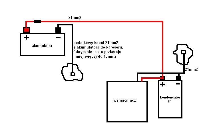 Prawid�owe pod��czenie zasilania wzmacniacza i kondensatora
