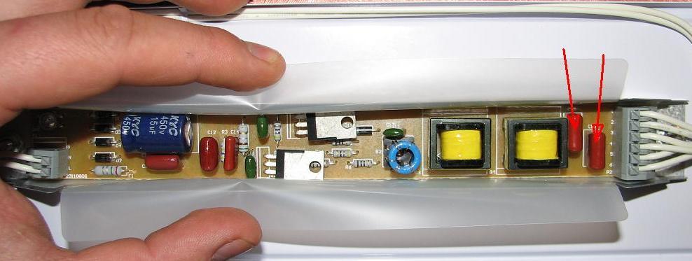 Przer�bka elektronicznego statecznika 2x36W T8, z zimnego startu na gor�cy