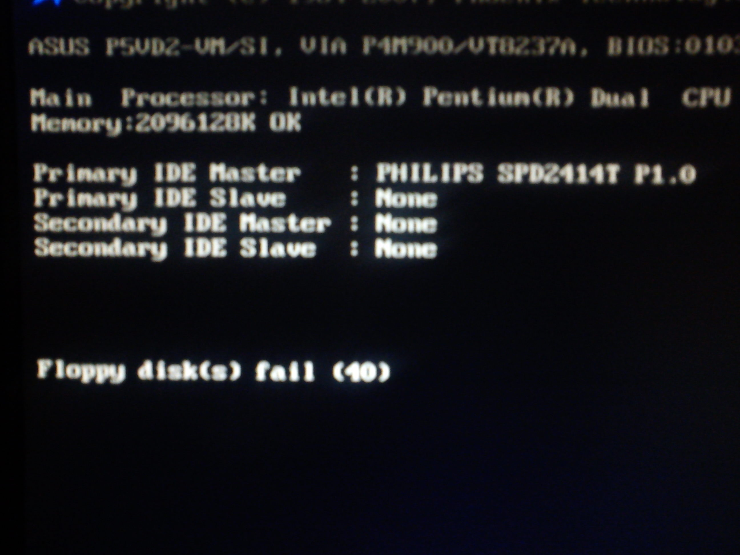 PC - Wywala Floppy disc(s) fail (40), system nie startuje.