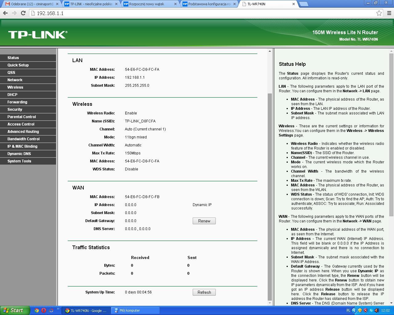 TP-LINK WR740N - Konfiguracja - brak sieci