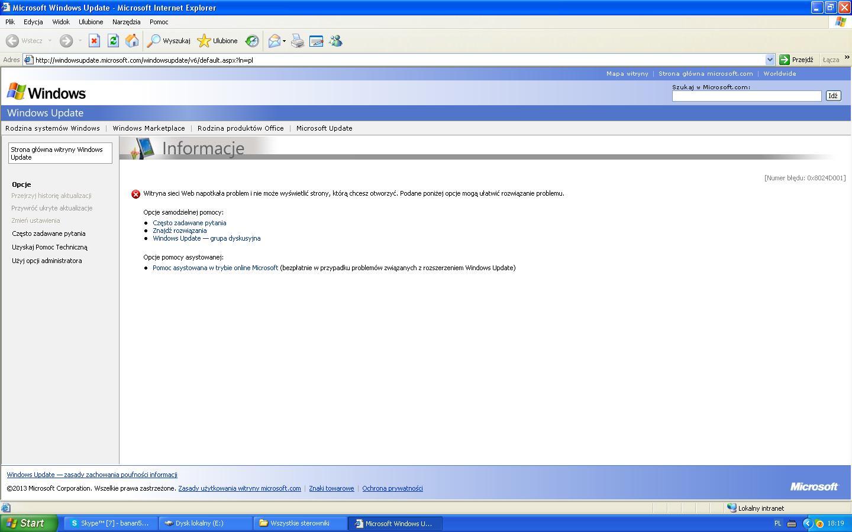 Windows XP - Windows Update [Numer b��du: 0x8024D001]