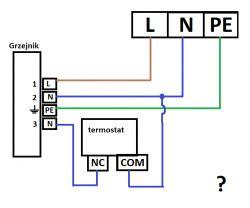 Sterowanie grzejnikiem elektrycznym sygnałem sterującym