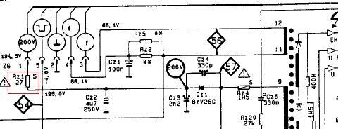 Finlux 5021(c) - chassis 5000 - zasilanie PK - 200V - pytanie o rezystor