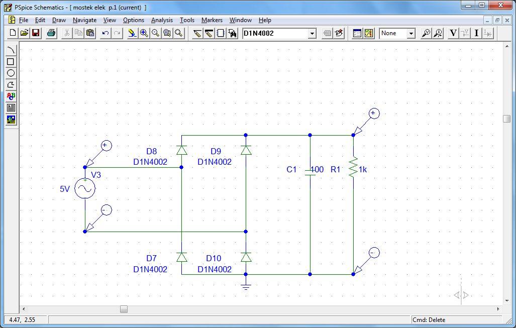 PSPice Mostek gretza - problem z elementami