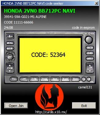 Radio Honda BB712PA, mam wsad, jak znaleźć kod?