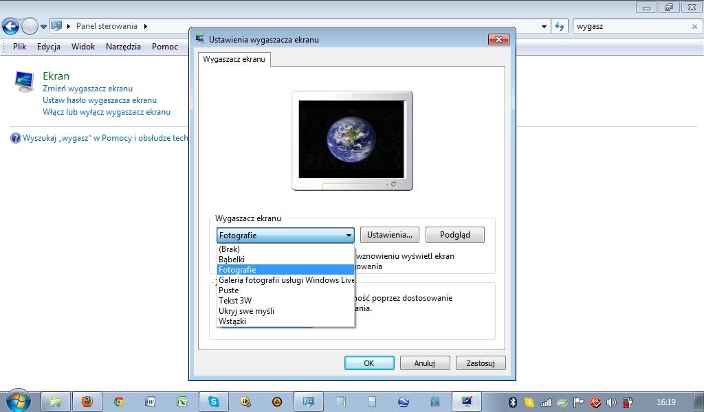 HP Mini 200-4200sw - Windows 7 Starter, wygaszacz ekranu