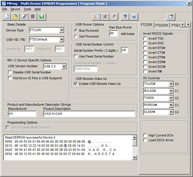 VAG K+CAN Commander v3.6 wykrywany jako Ross-Tech - potrzebuj� zrzut eeprom