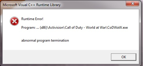 Microsoft Visual C++ Runtime L - Błąd Runtime Error