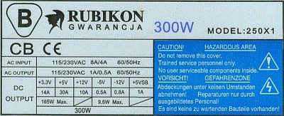 Rubikon model:250X1 ref.płyty: CG-11 94-V0 spalony rezystor R8?