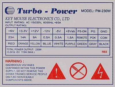 Turbo-Power model PM-230W zasilacz po naprawie wystrzelił?