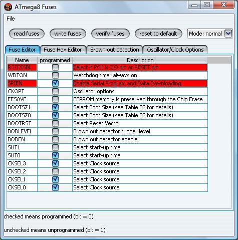 ATMEGA 8 - fuse bity, brak komunikacji z procesorem