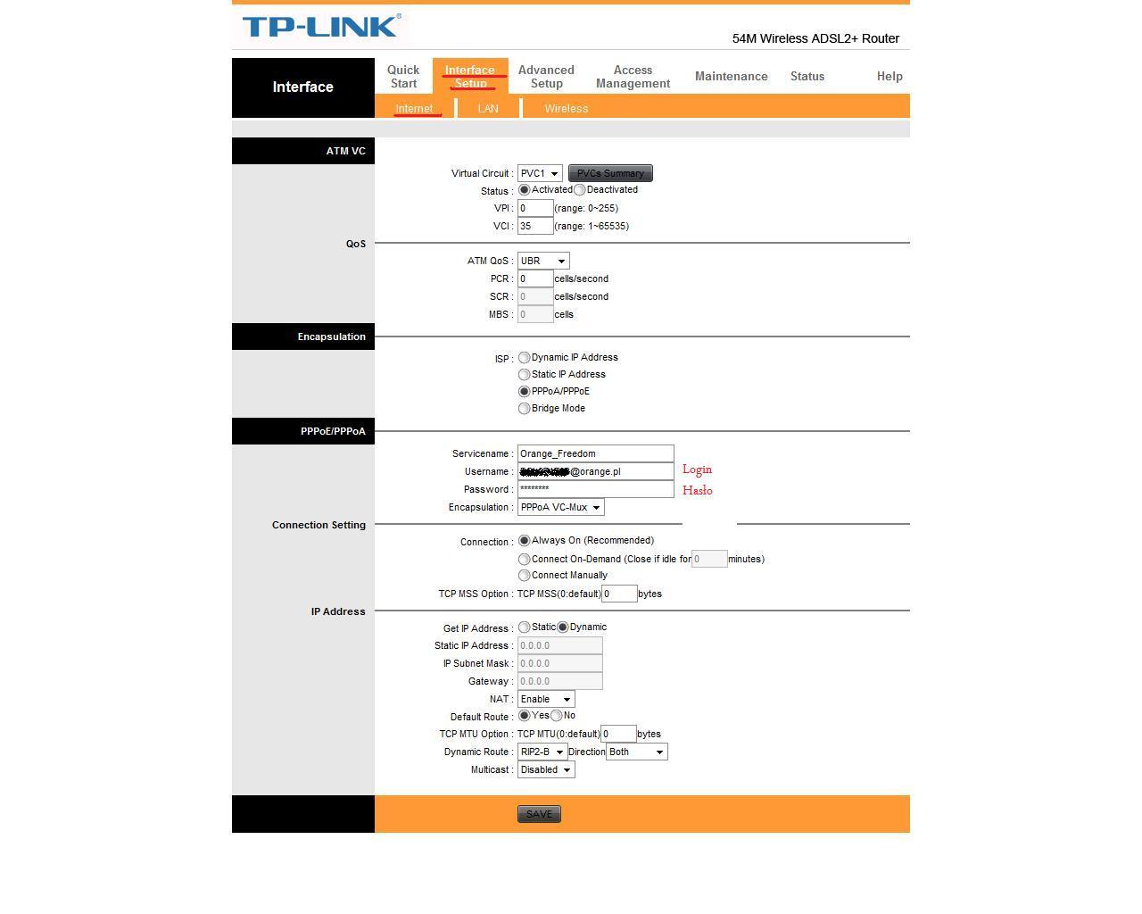 Skonfigurowanie routera TP link W8901 na freedom