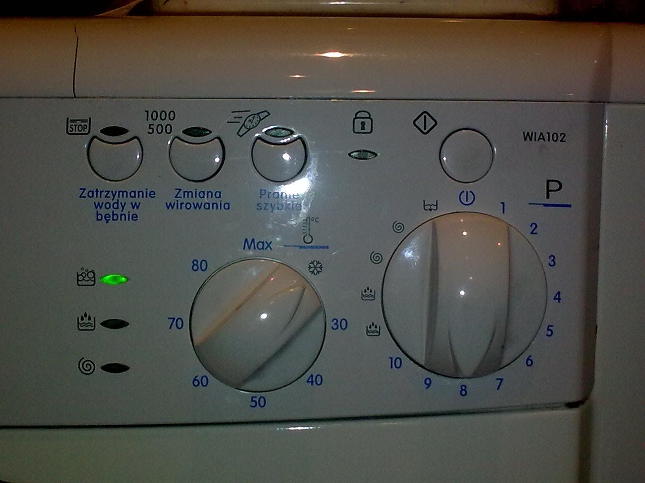 Indesit Wia 102 - �wieci lampka prania a pralka nie rusza.