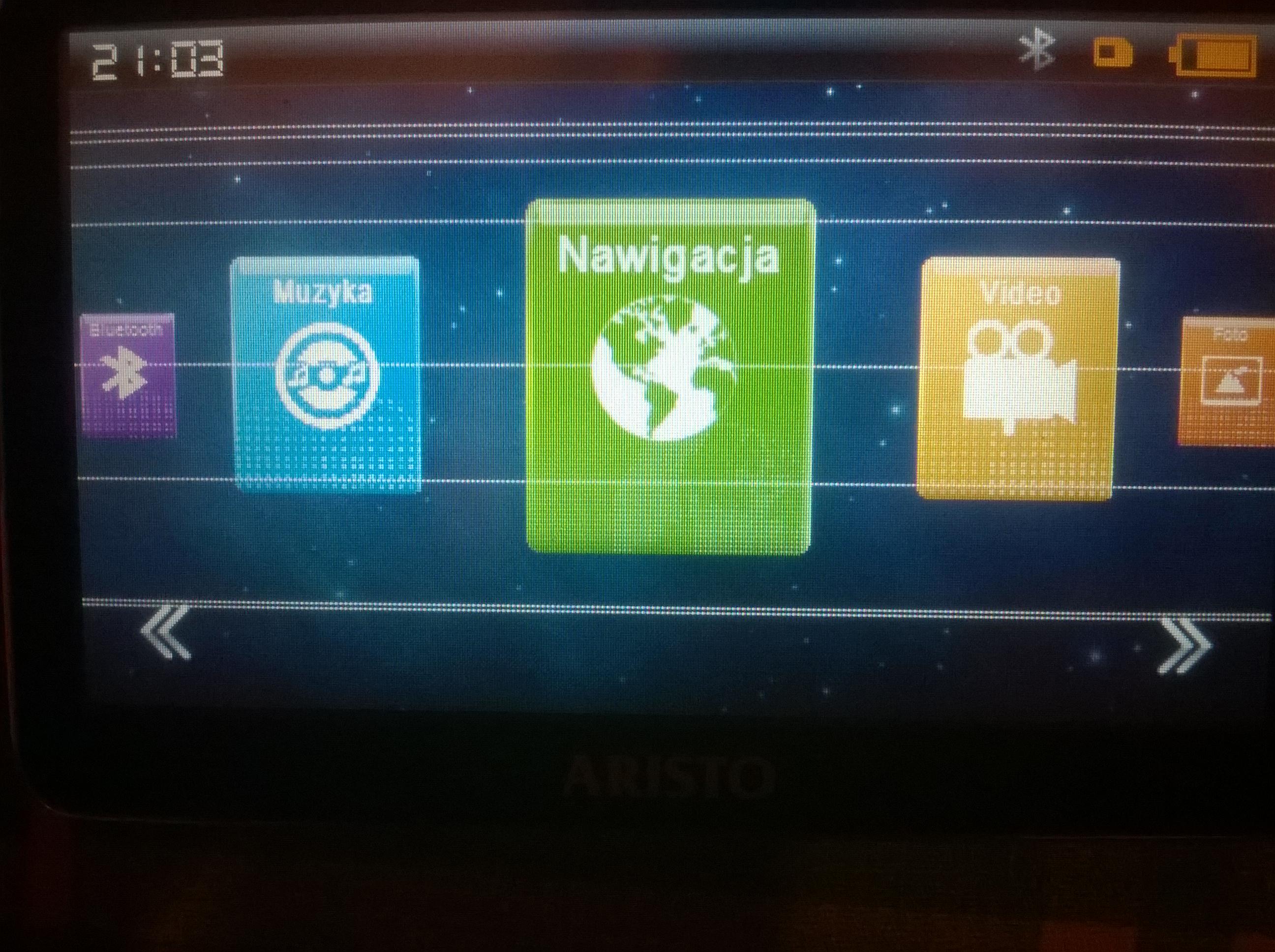 Aristo Voyager S500i - Bia�e poziome paski na ekranie