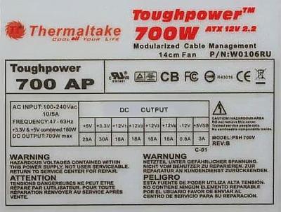Thermaltake model: PSH 700V rev:B Toughpower 700W-naprawa