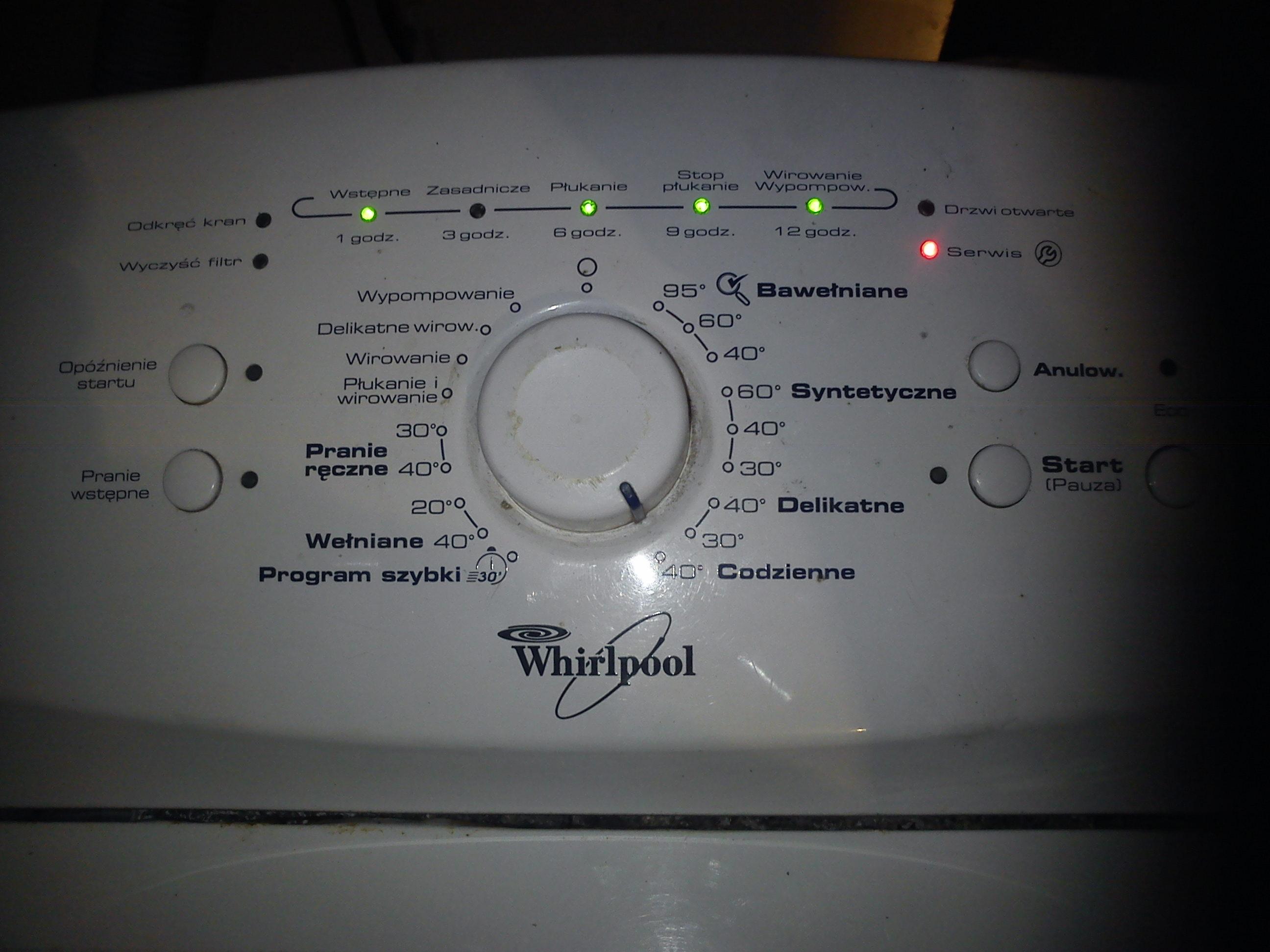 Pralka whirlpool AWE6516 przy wirowaniu za�wieca serwis