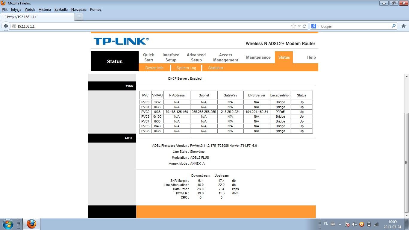 Sagem f@st 2704  vs Tplink TD-W896ND - r�nice w pr�dko�ci i synchronizacji.