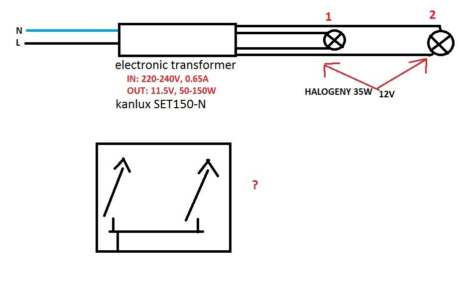 Pod��czenie dw�ch halogen�w 12V i w��czanie pojedynczych lamp
