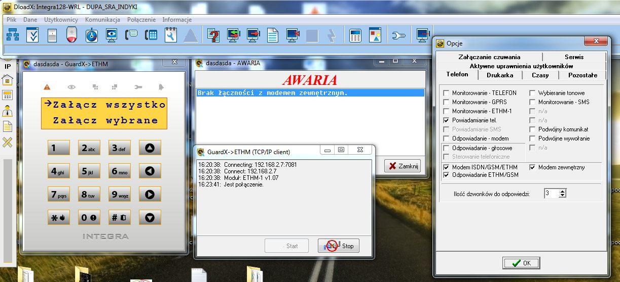 Satel 128WRL + ETHM-1 - Stacja monitoruje, czekaj. B��d inicjacji modemu.
