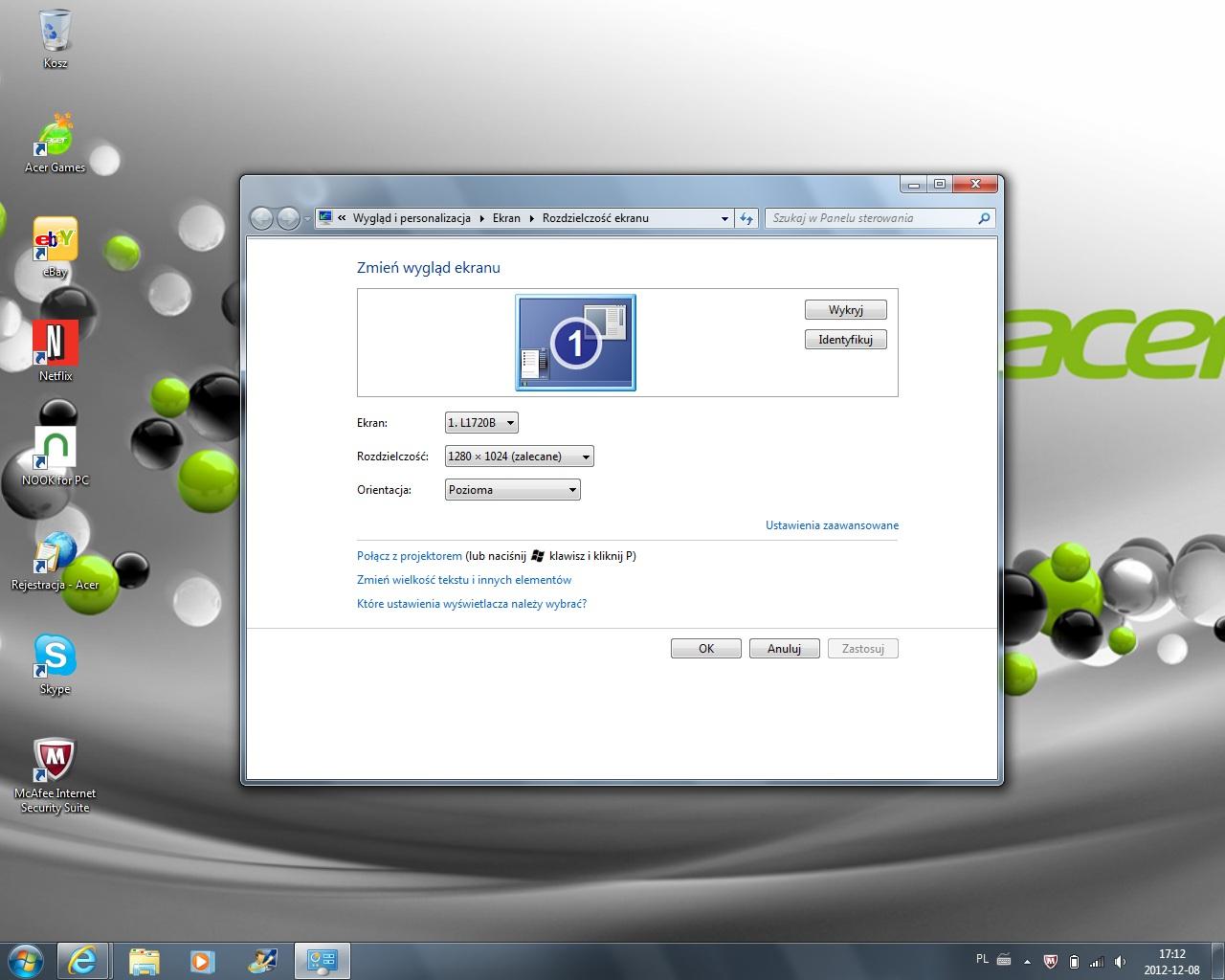 Acer One 722 - Brak obrazu na matrycy, a na monitorze zewn�trznym jest