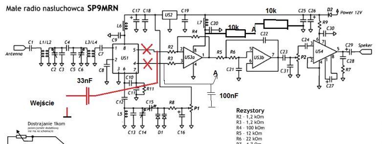 Odbiornik SP9MRN - Trzeba wyciąć przedwzmacniacz ze schematu