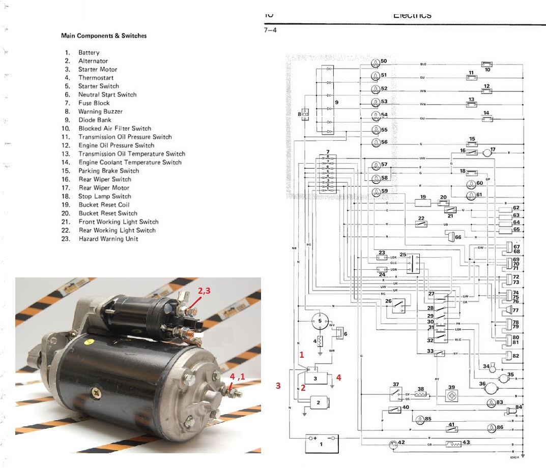 I need a picture of how to connect the wires on the starter of a JCB Jcb Backhoe Starter Wiring Diagram on