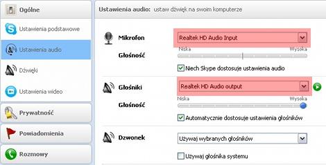 Skype nie wykrywa mikrofonu