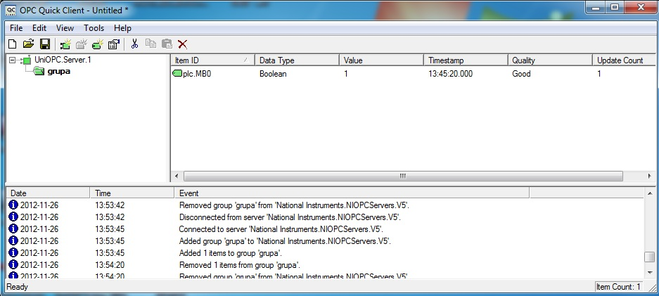 Sterownik Unitronics Jazz + LabView 2012 - OPC Serwer