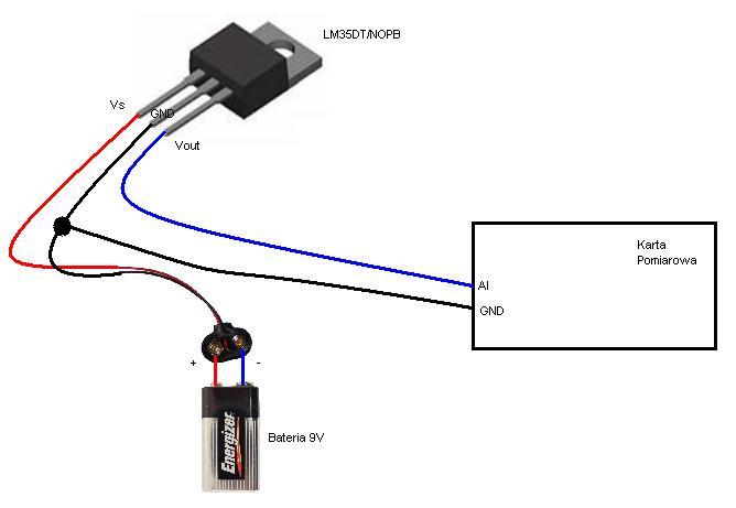 Czujnik temperatury LM35DT/NOPB zasilany z baterii i karta pomiarowa