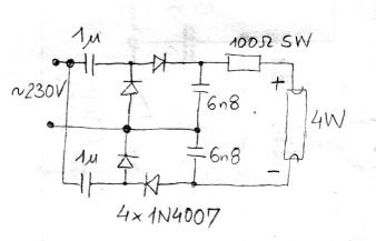 Układ zasilania świetlówki 4W - praca bez składowej stałej