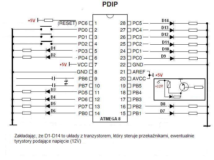 sterowanie diod 20 led- kod atmega16 przenie� na atmega8