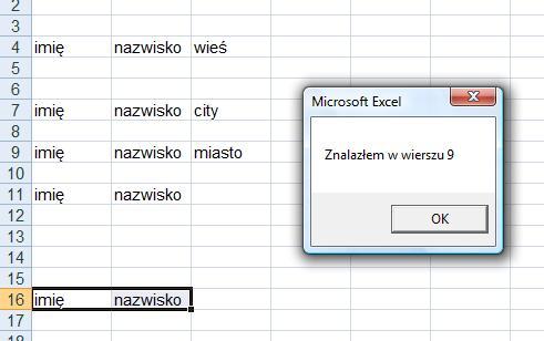 [VBA] Excel wyszukiwanie wiersza spełniającego kilka warunków