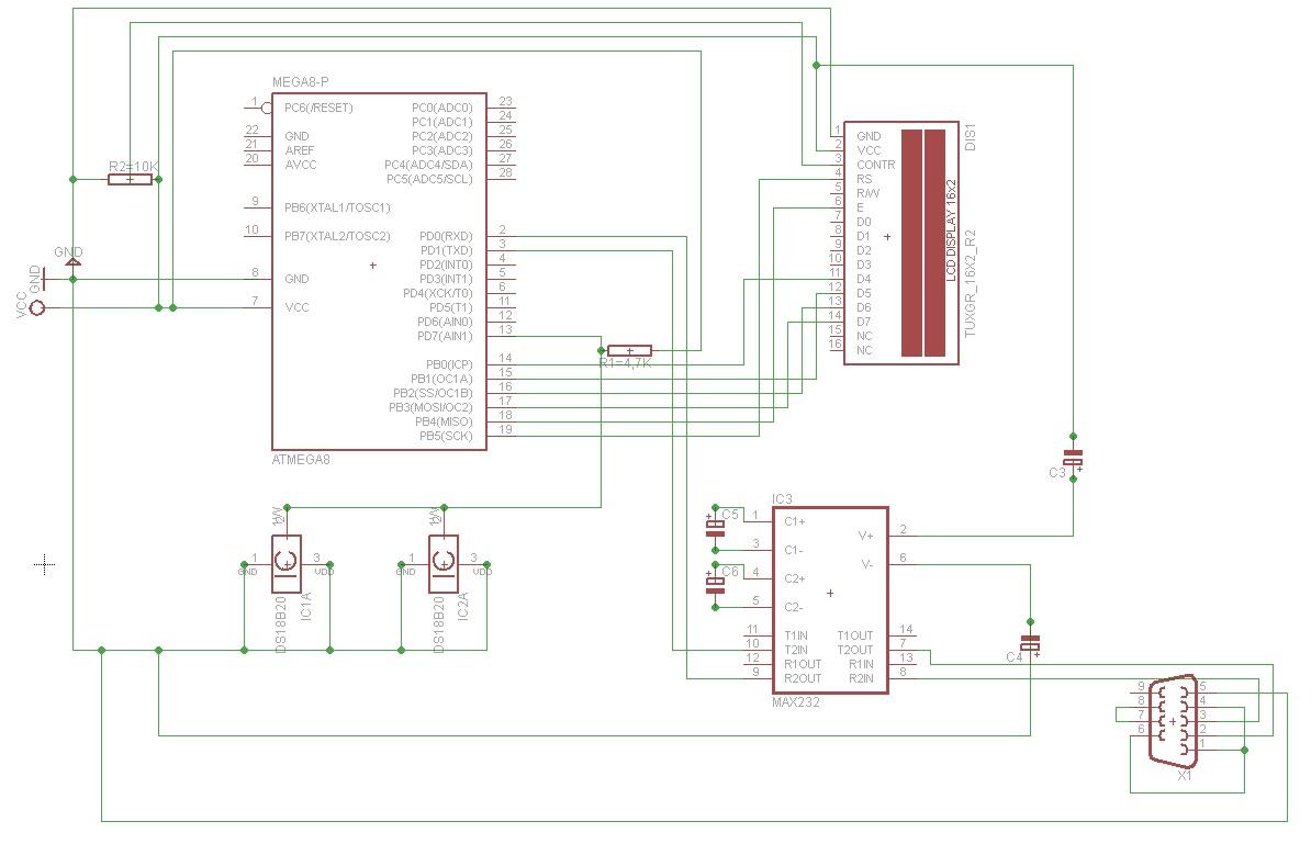 Atmega8 + DS18B20 + rs232 + LCD - elektroda pl