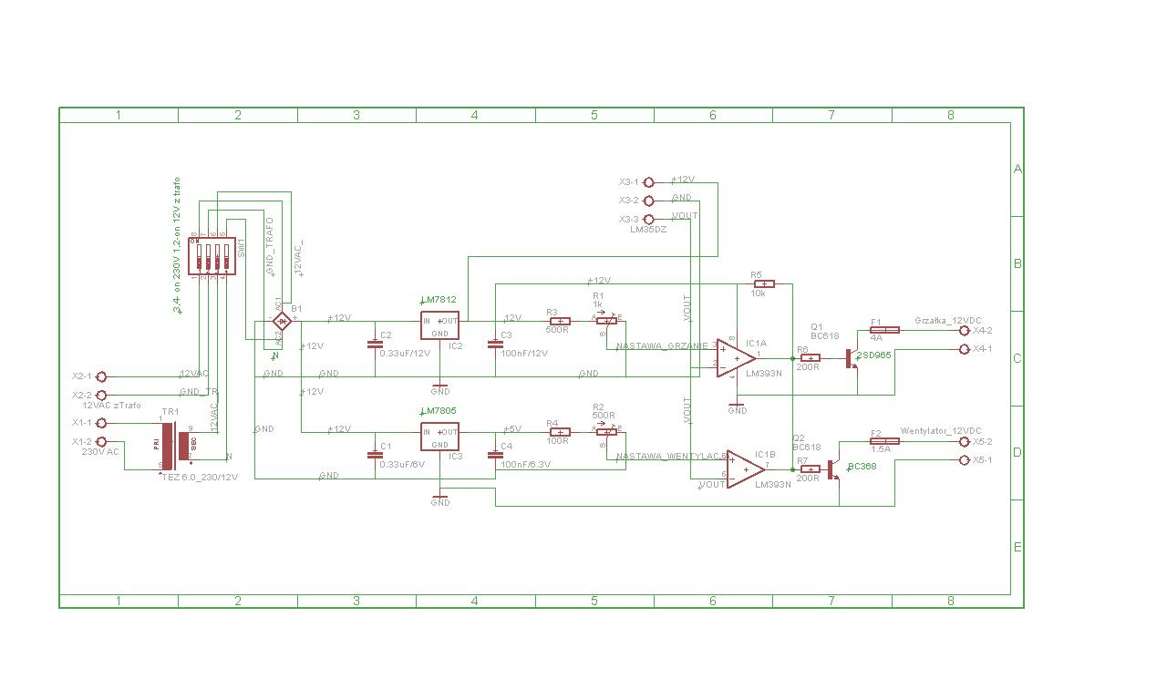 Termostat na komparatorze+ sterowanie tranzystorami