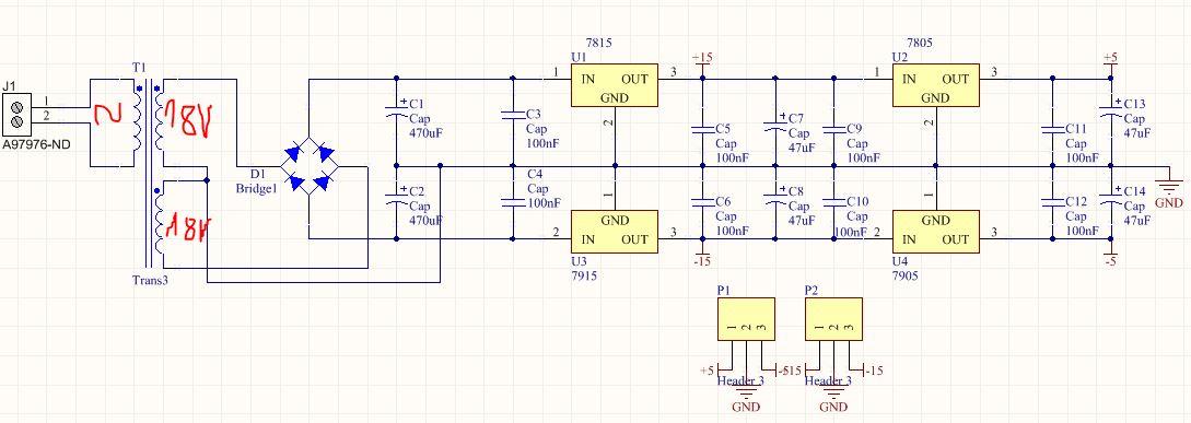 Zasilacz symetryczny 15V i 5V - sprawdzenie