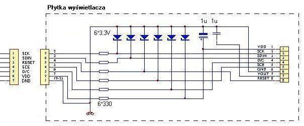 Schemat po��czenia Atmega32 Nokia LCD 3310