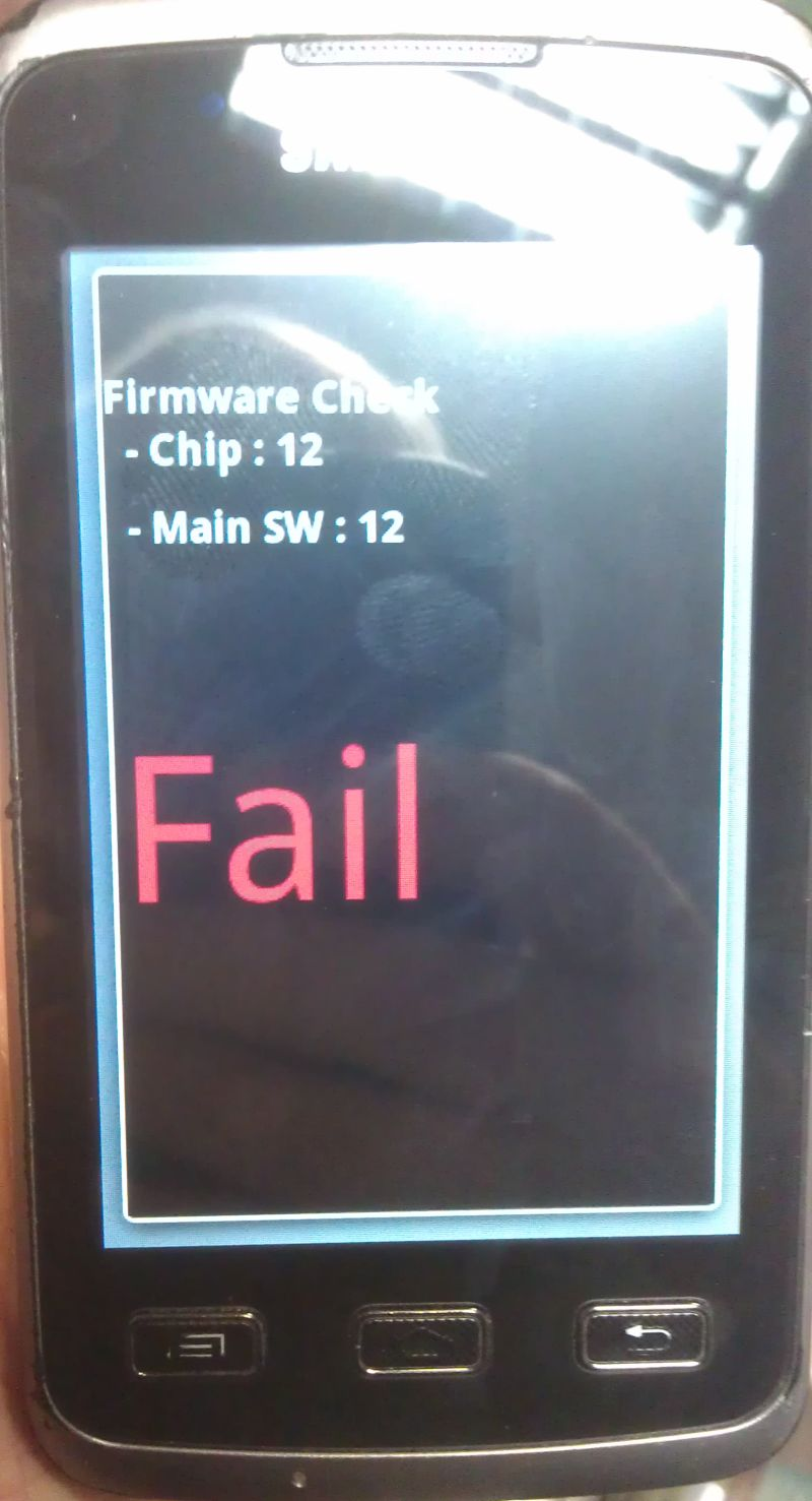 Samsung S5690 Xcover - digitizer - podczas testu fail