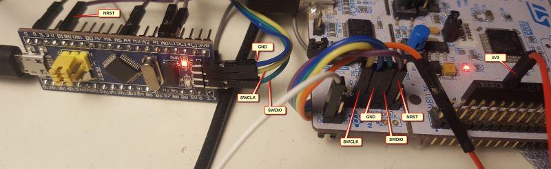 Jak podłaczyć BleuePill STM32F103 z ST-Link z Nucleo i Atollic