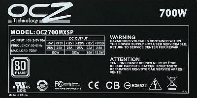 OCZ Technology model: OCZ-700MXSP - spali� si� brak elementu?