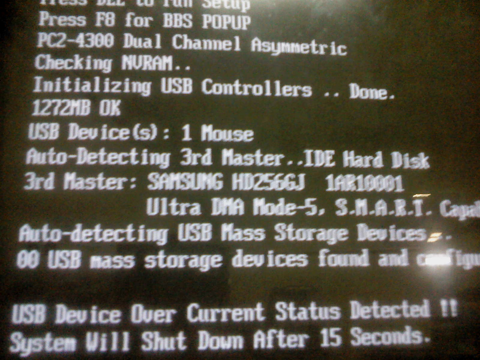 Asus M5A78L-M LX3 - USB Device Over Current Status Detected