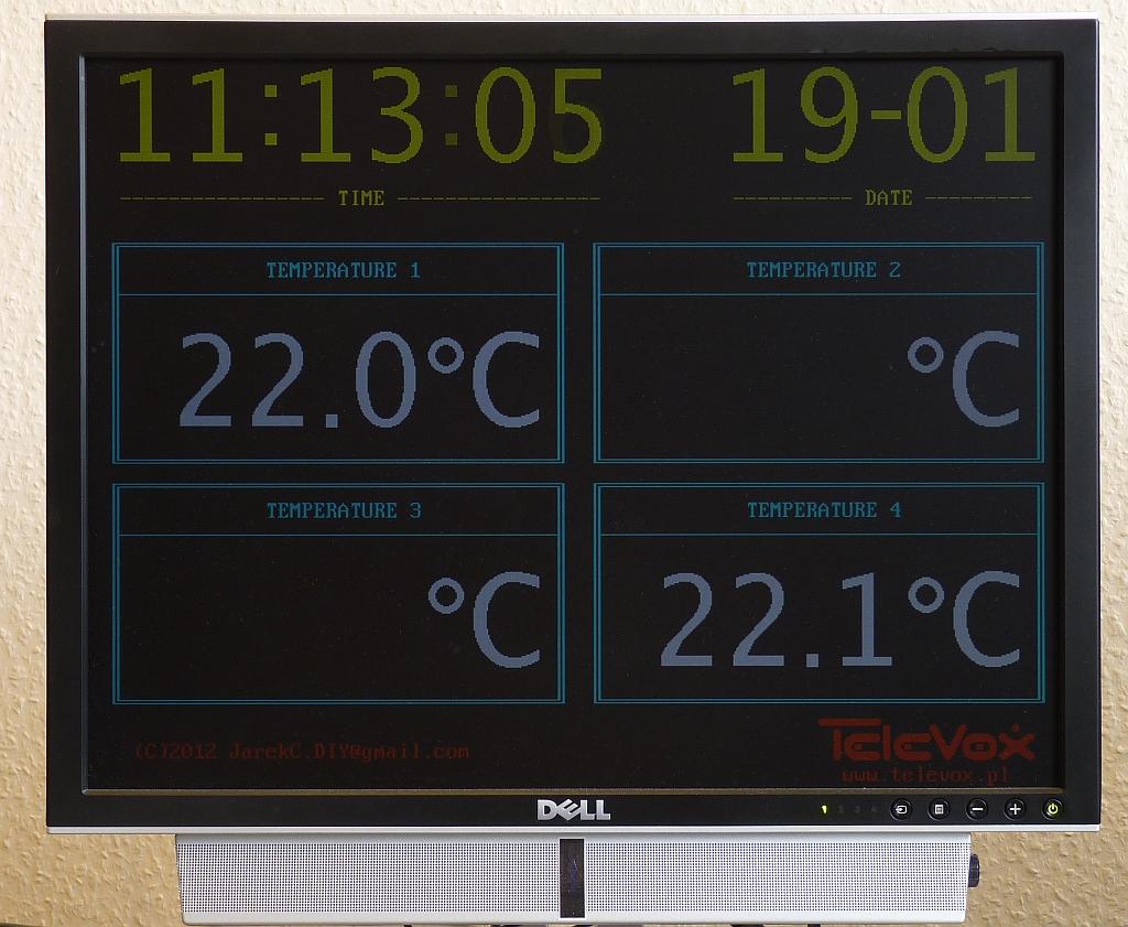 Termometr 4-kana�owy i zegar, wy�wietlanie TVplazma, AVR,DS18B20,PCF8583,teleVGA
