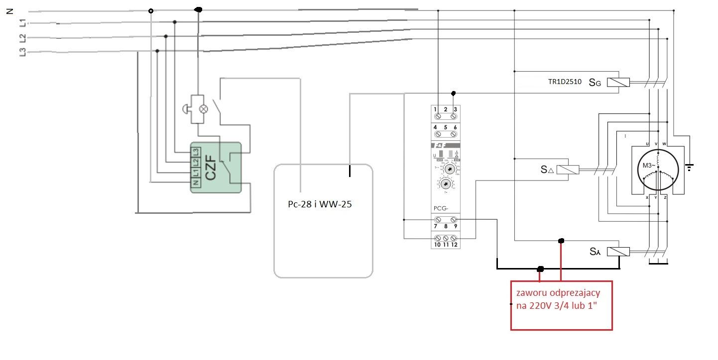Schemat-wydumka sterowania do kompresora WAN-AW
