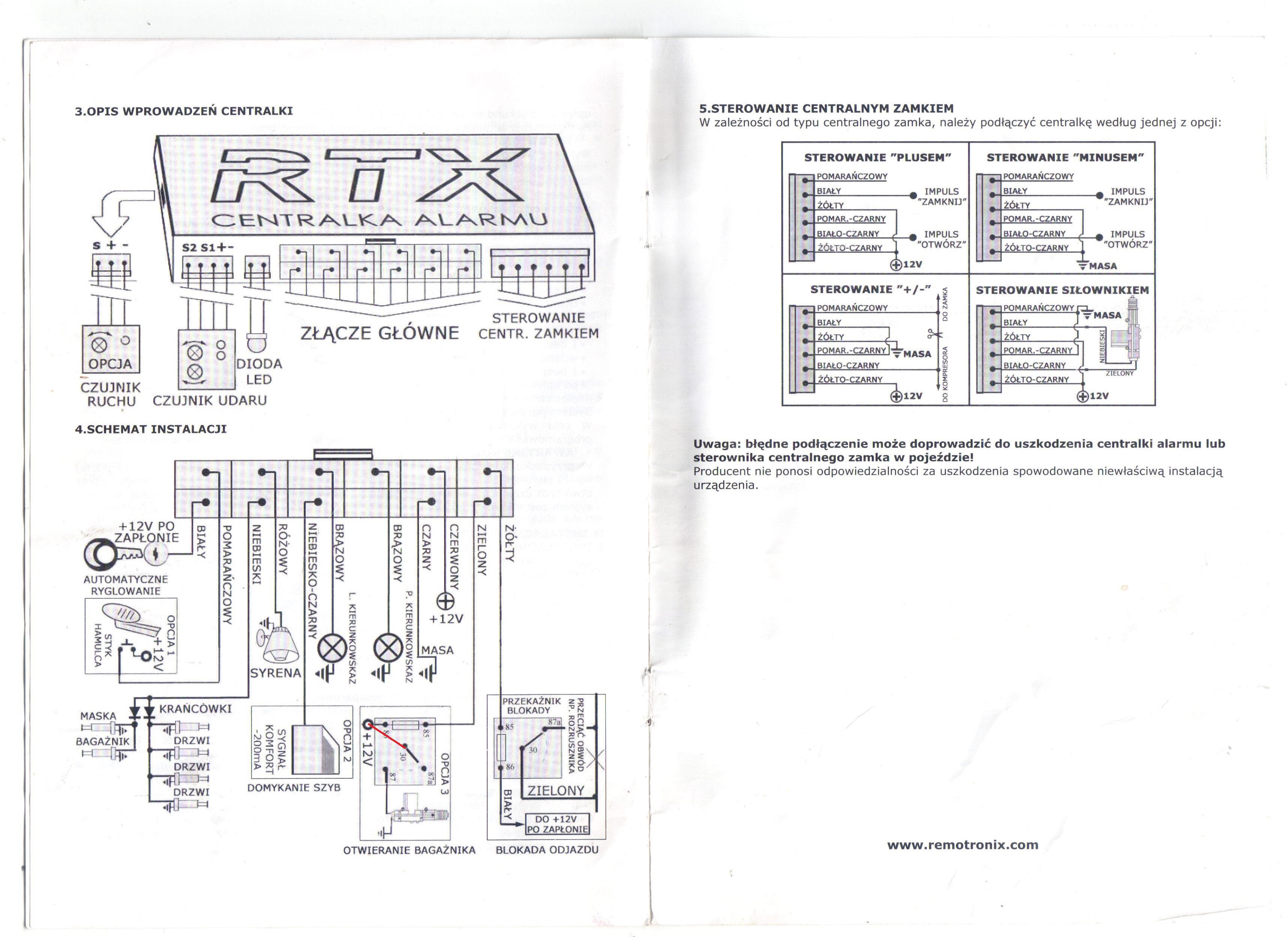 Autoalarm RTX vulcan v3 - Brak sygnalizacji oraz sterowanie baga�nikiem