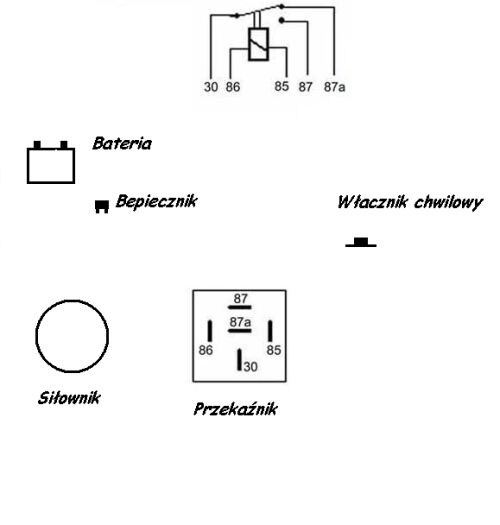 Pod�aczenie przekaznika do silownika tylnej klapy.